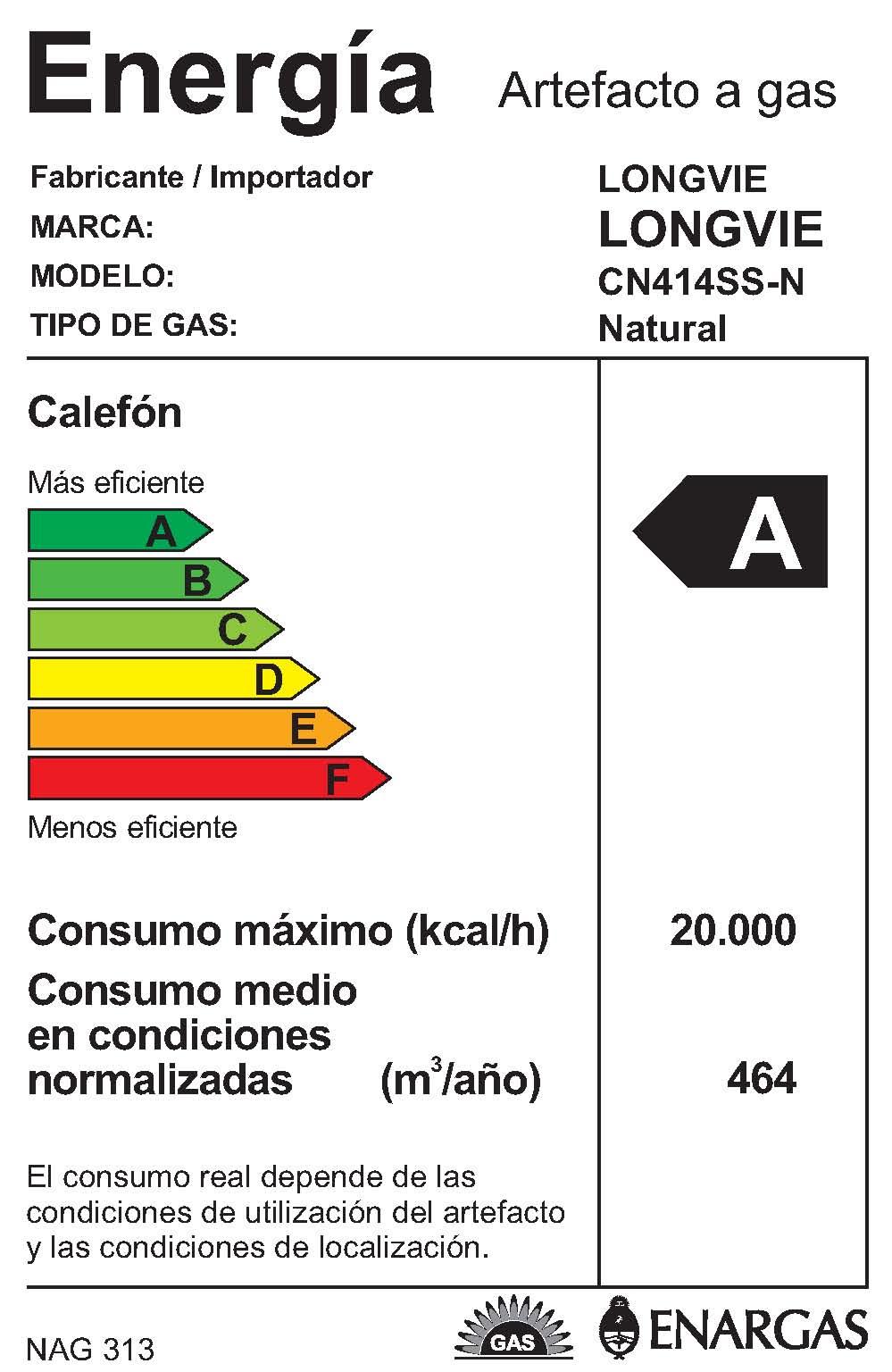 Longvie - Calefones a gas - CN414SS